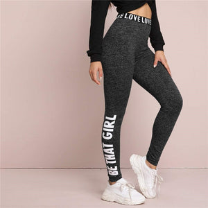 Casual Letter Print Graphic Marled Leggings - Black - WOMENEXY