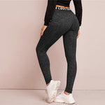 Load image into Gallery viewer, Casual Letter Print Graphic Marled Leggings - Black - WOMENEXY