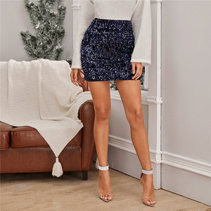 Glamorous Sequin Bodycon Mini Skirt - Navy - WOMENEXY