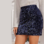 Load image into Gallery viewer, Glamorous Sequin Bodycon Mini Skirt - Navy - WOMENEXY