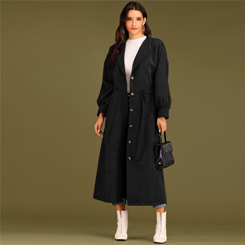 Elegant Solid Waterfall Collar Single Breasted Drawstring Waist Long Coat - Black / Burgundy / Green - WOMENEXY