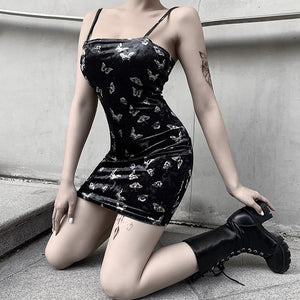 Gothic Dark Print Spaghetti Strap Sleeveless Summer Mini Dress (Black) - WOMENEXY
