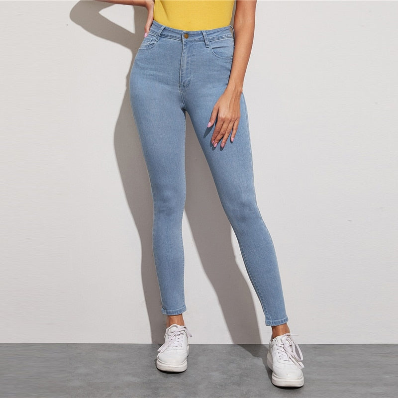 Casual Solid Light Wash Five-Pocket Stretchy Cropped Jeans - Blue - WOMENEXY