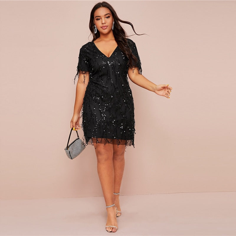 Glamorous Contrast Sequin Fitted Plus Size Dress - Black / Burgundy / Nude