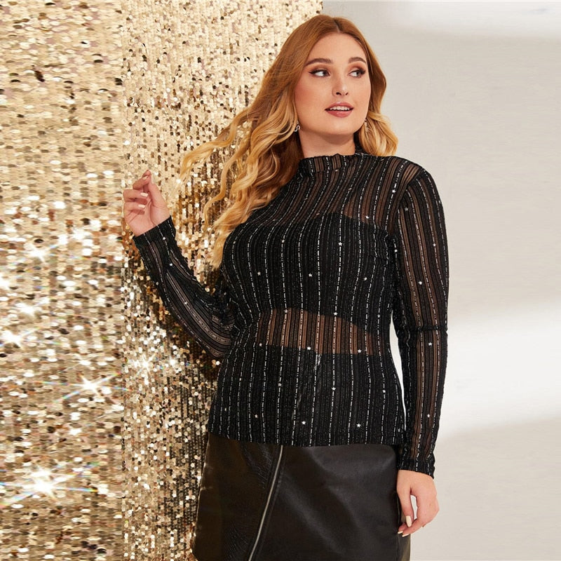 Glamorous Glitter Striped Sheer Mesh Plus Size Top - Black / Navy - WOMENEXY