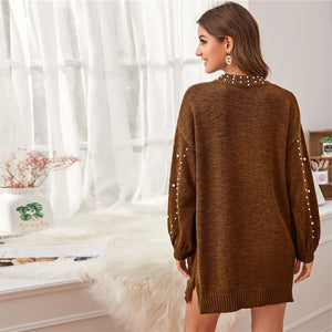 Casual Pearl Beaded Drop Shoulder Sweater Dress - Brown / Gray - WOMENEXY