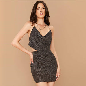 Sexy Cowl Neck Backless Glitter Top and Bodycon Skirt Set - Black