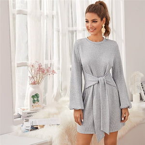 Cute Bishop Sleeve Knot Front Sweater Dress - Gray / Khaki