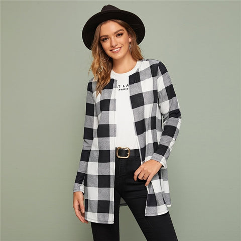 Casual Plaid Print Open Front Coat - Black / Blue - WOMENEXY