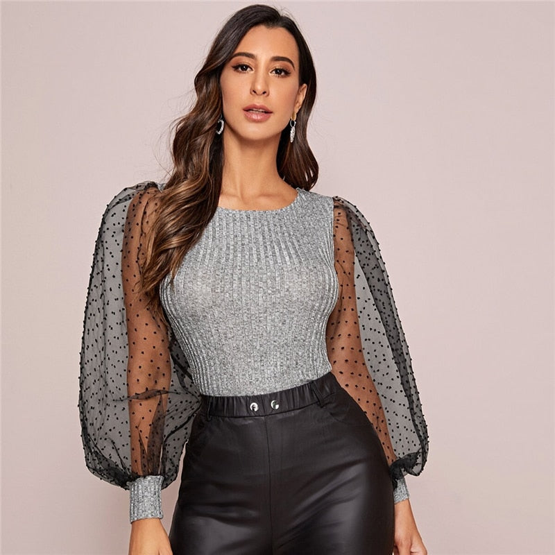Glamorous Contrast Mesh Lantern Sleeve Ribbed Knit Tee - Gray