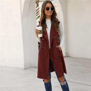 Casual Solid Double-Breasted Waterfall Collar Trench Vest - 5 Colors - WOMENEXY
