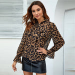 Load image into Gallery viewer, Elegant Tie Neck Flounce Sleeve Leopard Top - WOMENEXY
