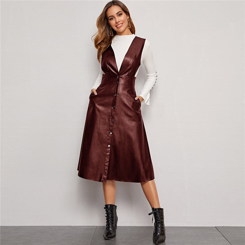 Elegant Plunging Neck Button Front PU Overall Dress - Black / Burgundy - WOMENEXY