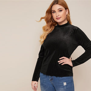 Casual Lettuce Trim Rib-Knit Velvet Plus Size Top - Black / Pink - WOMENEXY