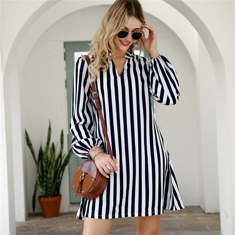 Casual Notched Collar Striped Shirt Dress