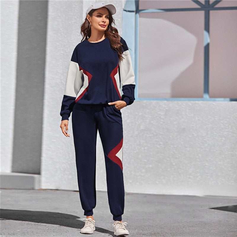 Active Wear Color Block Pullover and Sweatpants Set - Navy - WOMENEXY