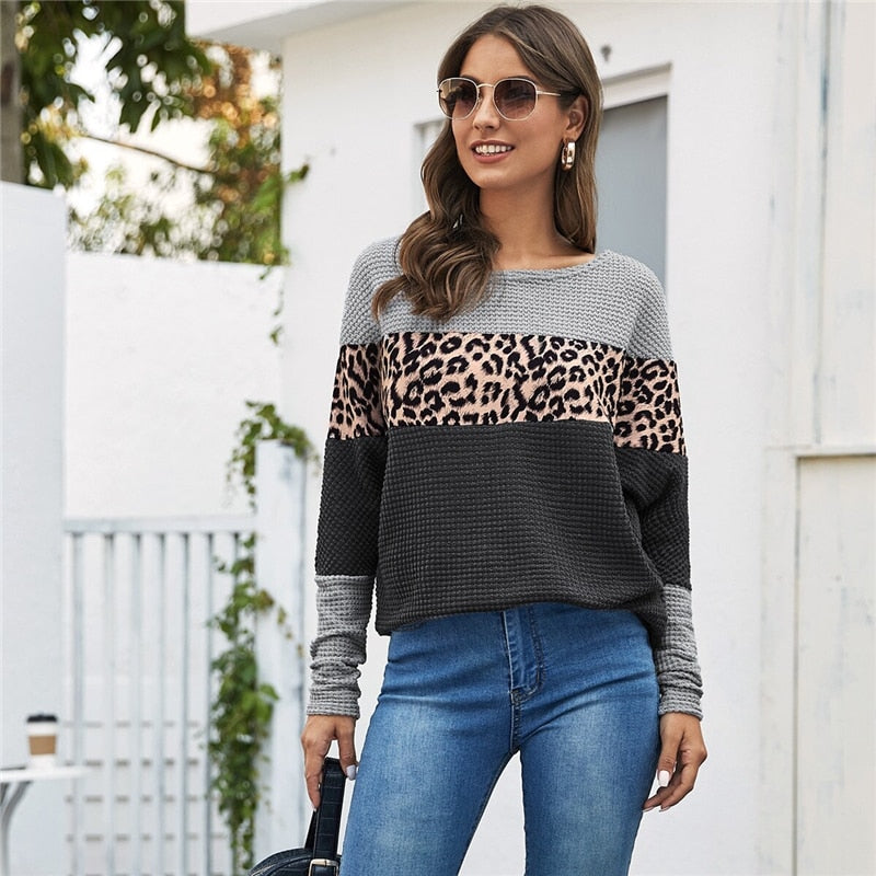 Casual Cut And Sew Leopard Print Tee