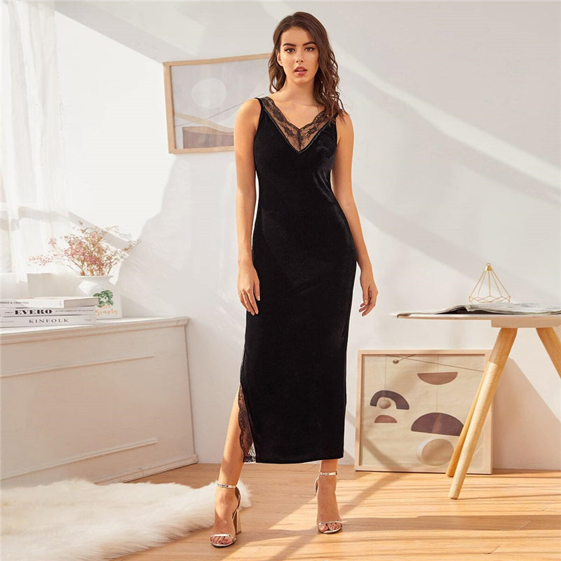 Elegant Lace Detail Split Hem V-Back Velvet Slip Nightdress - Black - WOMENEXY