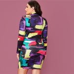 Load image into Gallery viewer, Elegant Mock Neck Colorblock Bodycon Plus Size Dress - WOMENEXY
