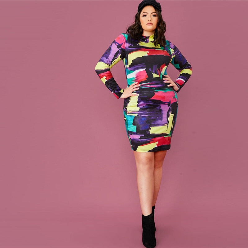 Elegant Mock Neck Colorblock Bodycon Plus Size Dress - WOMENEXY
