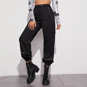 Sporty Zip Detail Cargo Pants With Chain - Black