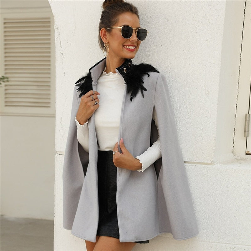 Elegant Contrast Feather Tweed Cape Coat - Black / Gray - WOMENEXY