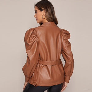 Casual Solid PU Leather Jacket with Belt - Brown - WOMENEXY