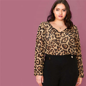 Casual Leopard Semi Sheer Plus Size Top
