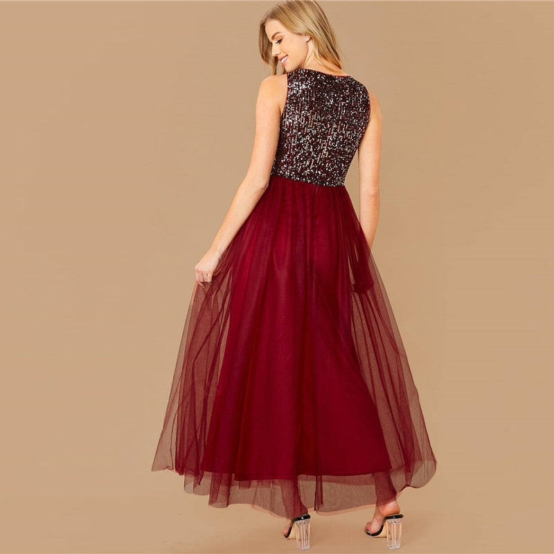 Glamorous Sequin Bodice Maxi Dress - Burgundy - WOMENEXY