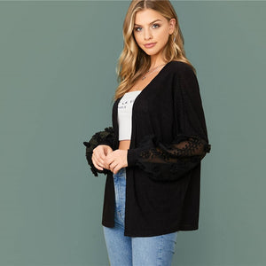 Casual Swiss Dot Mesh Lantern Sleeve Rib-Knit Coat - Black - WOMENEXY