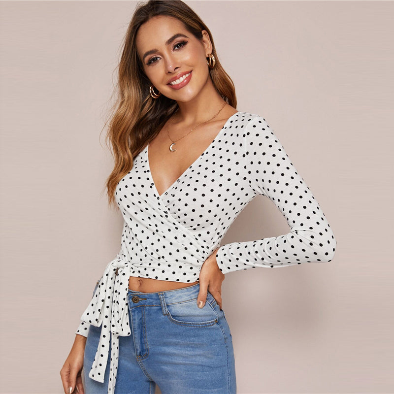 Sexy Surplice Neck Belted Polka Dot Crop Top - White