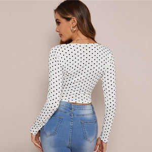 Sexy Surplice Neck Belted Polka Dot Crop Top - White - WOMENEXY