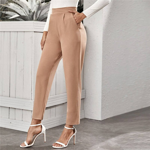 Elegant High Waist Slant Pocket Tailored Pants - Nude - WOMENEXY