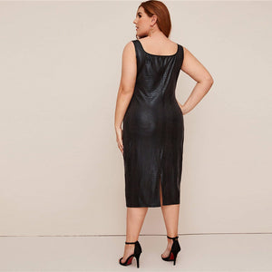 Elegant Crocodile Faux Leather Fitted Plus Size Dress - Black - WOMENEXY