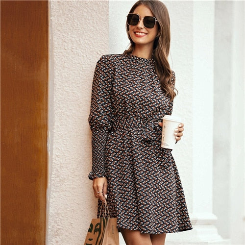 Elegant Stand Collar Ditsy Floral Print Dress - WOMENEXY