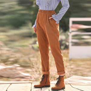 Casual Corduroy Slant Pocket Pants - Camel - WOMENEXY