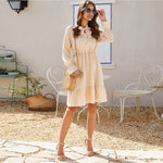 Load image into Gallery viewer, Elegant Button Front Tie Neck Dress - Beige - WOMENEXY