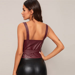 Sexy Surplice Wrap Knot Side PU Leather Tank Tops - WOMENEXY