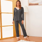 Load image into Gallery viewer, Casual Contrast Lace Long Pajama Set - Gray - WOMENEXY