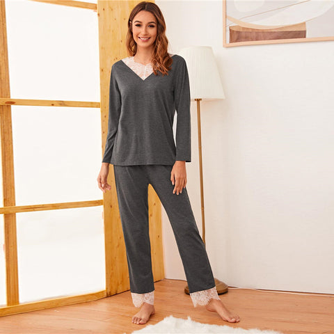 Casual Contrast Lace Long Pajama Set - Gray - WOMENEXY