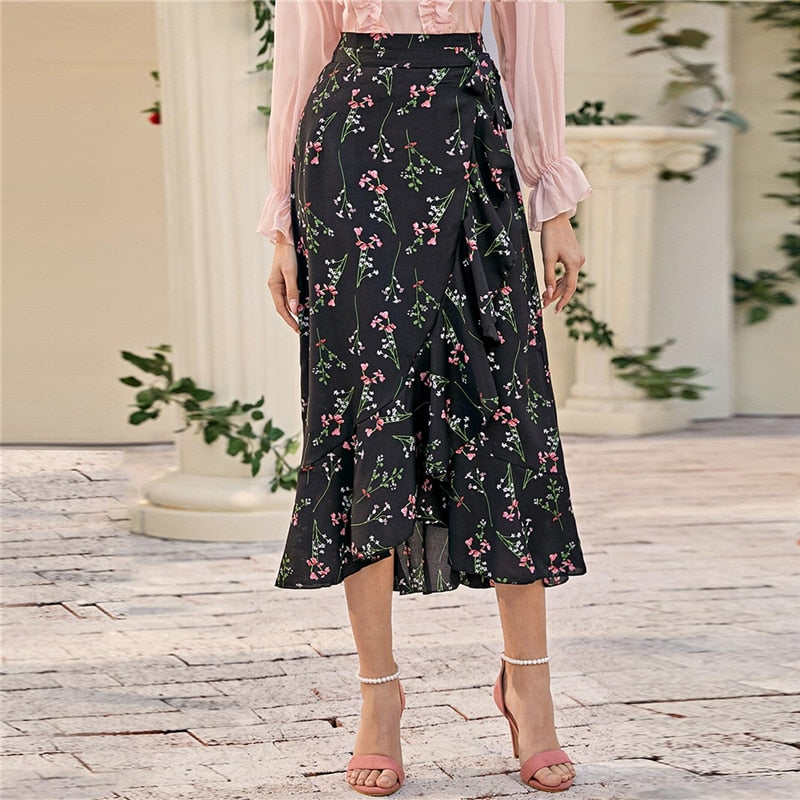 Bohemian Ruffle Hem Wrap Knotted Floral Skirts - Black