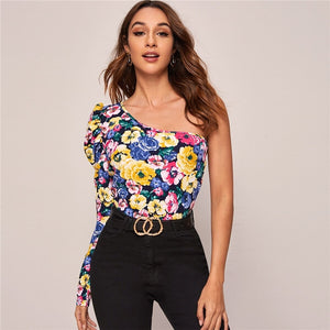 Sexy One Shoulder Gigot Sleeve Floral Print Top