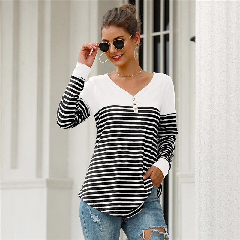 Casual Striped Button Front Curved Hem Tee - Black and White