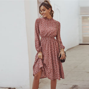 Casual Ditsy Floral Stand Collar Dress - Red - WOMENEXY