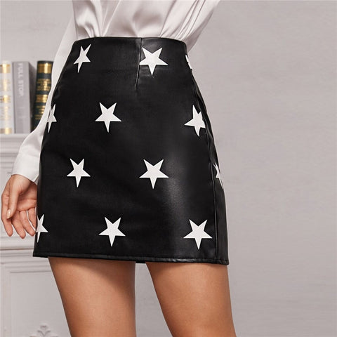 Elegant Star Print PU Leather Mini Skirts - Black - WOMENEXY