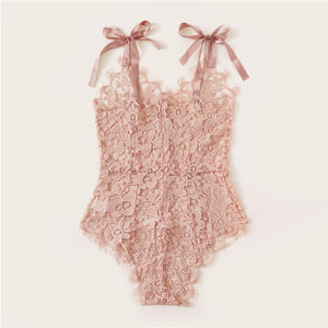 Sexy Guipure Lace Tie Shoulder Teddy Bodysuit - Pink - WOMENEXY