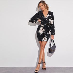 Elegant Surplice Neck Lantern Sleeve Self-Belted Floral Pencil Dress - Black and White - WOMENEXY