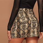 Load image into Gallery viewer, Sexy Snake Skin Print Split Hem Skinny Skirts - WOMENEXY