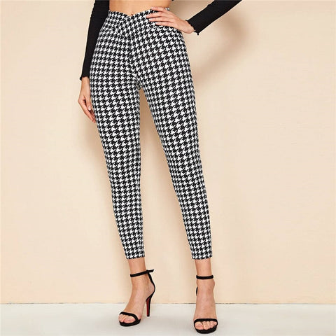 Elegant Wrap Wide Waistband Pants - Black and White - WOMENEXY