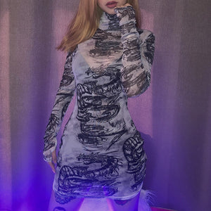 Gothic Dragon Print Punk Harajuku Long Sleeve Grunge Dress (White) - WOMENEXY